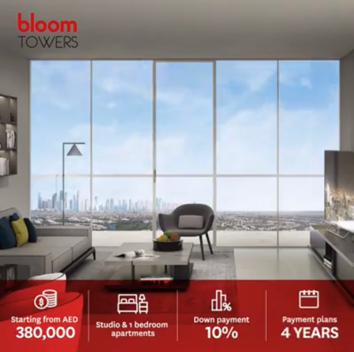 Studio Apartment in Bloom Towers 3-Yr Free Service Charge